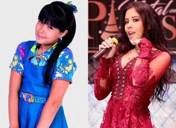 Cinthia Cruz como Cris em Chiquititas (2013-2015) e em 2018 (Foto: Divulgação/SBT e Maísa Bittencourt)
