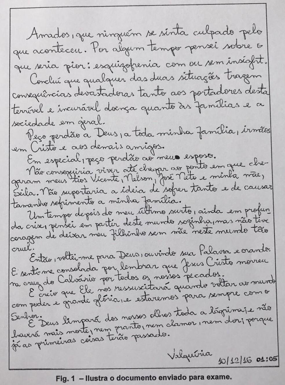 Em carta deixada por Valquíria, que cometeu suicídio com o filho, a médica pede perdão para o marido. — Foto: Arquivo pessoal