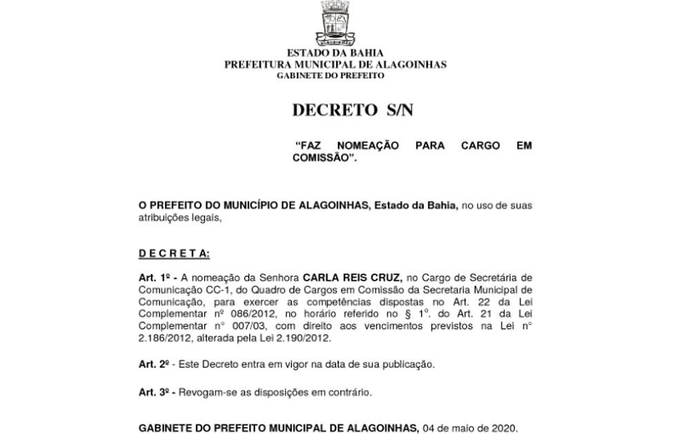 Prefeito de Alagoinhas nomeia a esposa como secretária de comunicação — Foto: Reprodução / Diário Oficial de Alagoinhas