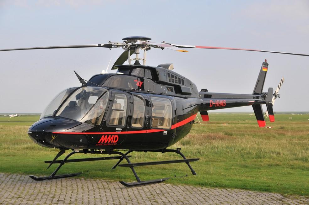Helicóptero Bell 407, modelo similar ao declarado pelo candidato a prefeito de Araucária (PR) Hissam Dehaini (Cidadania) — Foto: Reprodução
