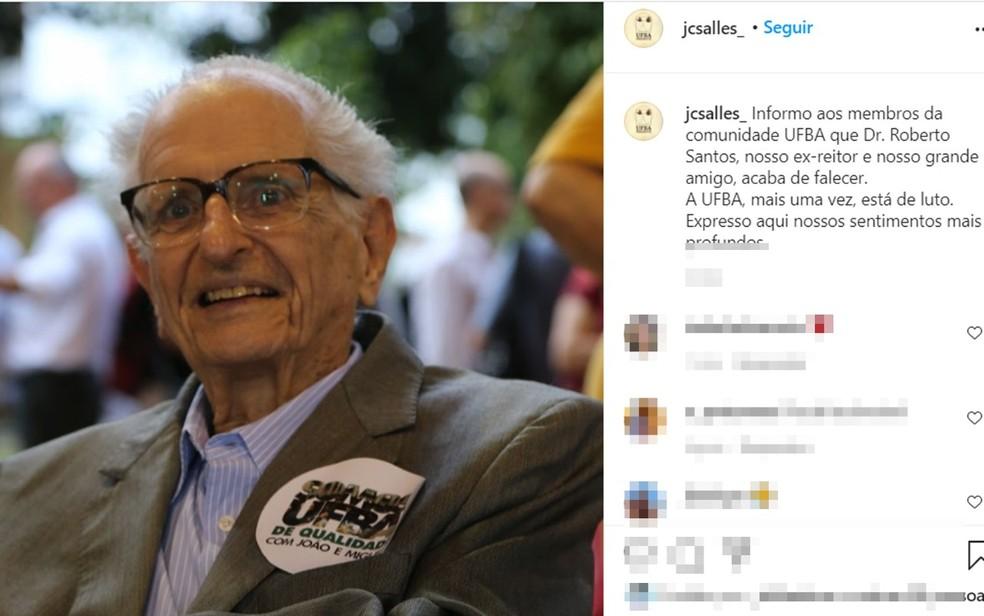 Roberto Santos, ex-governador da Bahia e ex-reitor da Ufba, morre em Salvador — Foto: Reprodução / Redes Sociais