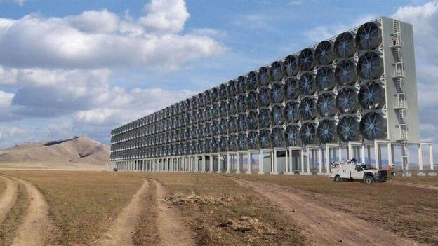 Remover dióxido de carbono da atmosfera será necessário, dizem os cientistas (Foto: Carbon Engineering via BBC)