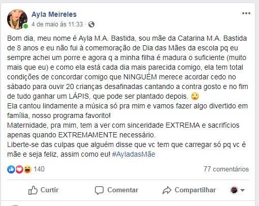 Desabafo de Ayla em sua rede social (Foto: Reprodução Facebook)