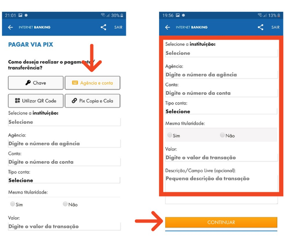 Com os dados bancários do favorecido, é possível realizar um Pix na Caixa — Foto: Reprodução/Lívia Dâmaso