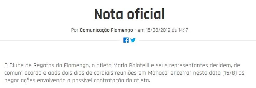 Nota oficial do Flamengo comunicando o fim das negociações entre clube e atleta — Foto: Reprodução