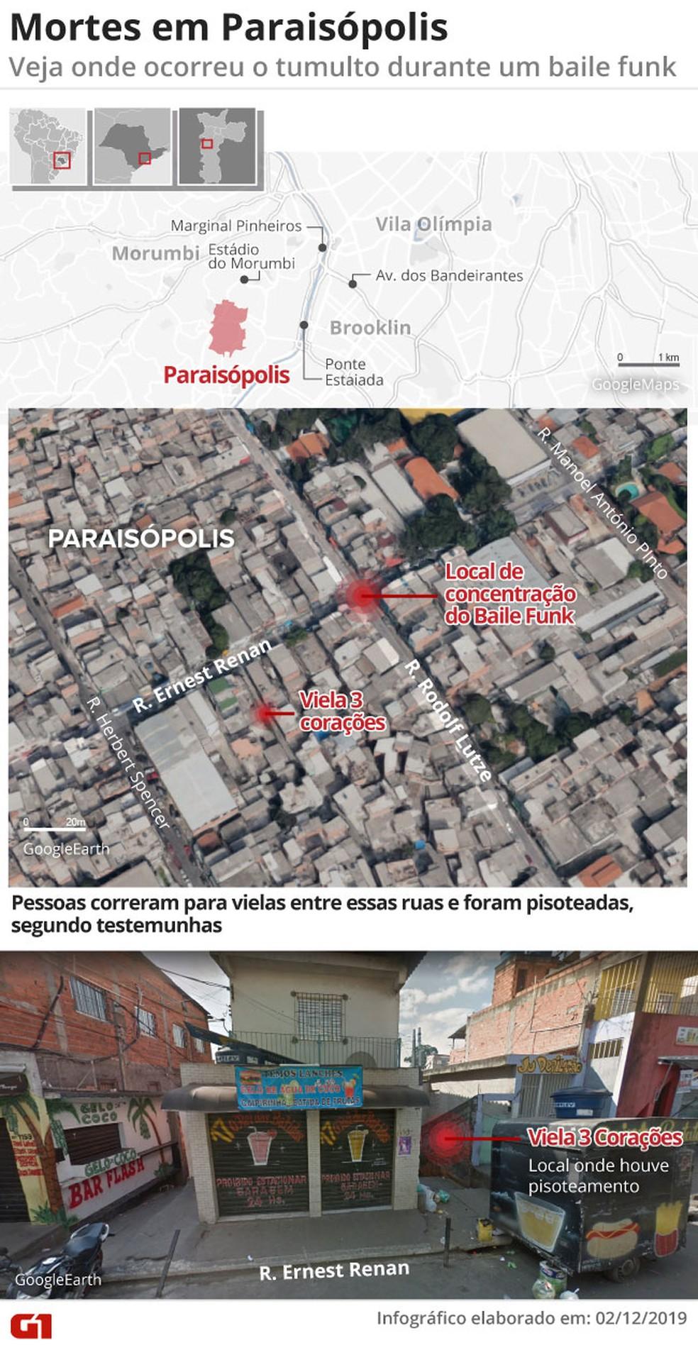 Mapa mostra local onde pessoas morreram pisoteadas após baile funk em Paraisópolis — Foto: Juliane Souza/G1
