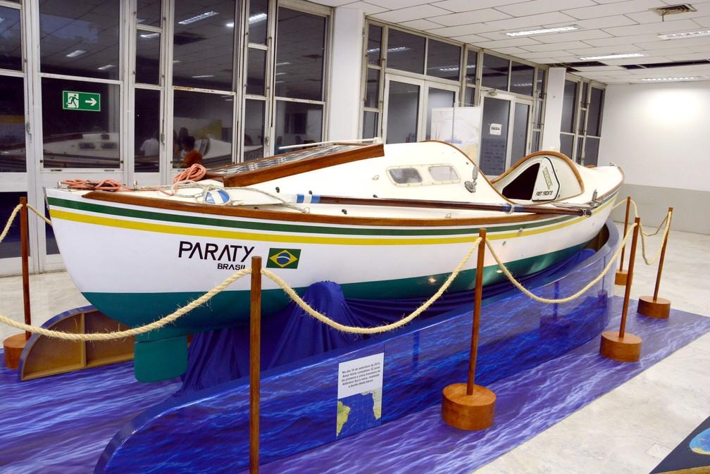 Barco usado por Amyr Klink na travessia do Atlântico em 1984 — Foto: Prefeitura de Cubatão