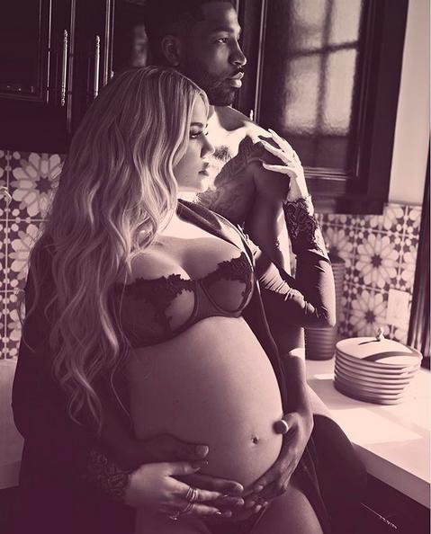 A socialite Khloé Kardashian com o pai de seu bebê, Tristan Thompson (Foto: Instagram)
