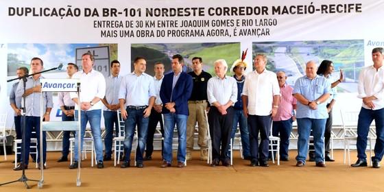 Ministros de Temer em evento com Renan Calheiros (Foto: Reprodução)