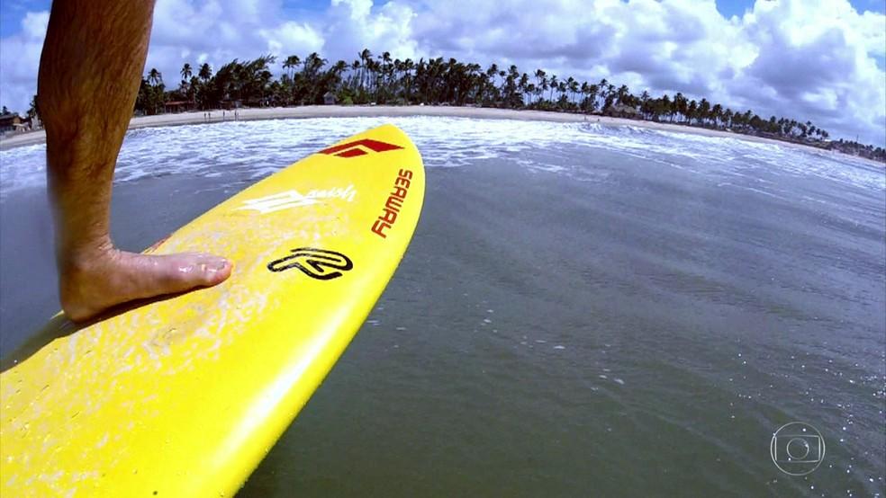 Eduardo Rato Fernandes em ação no hidrofoil (Foto: Reprodução / Globo Esporte)