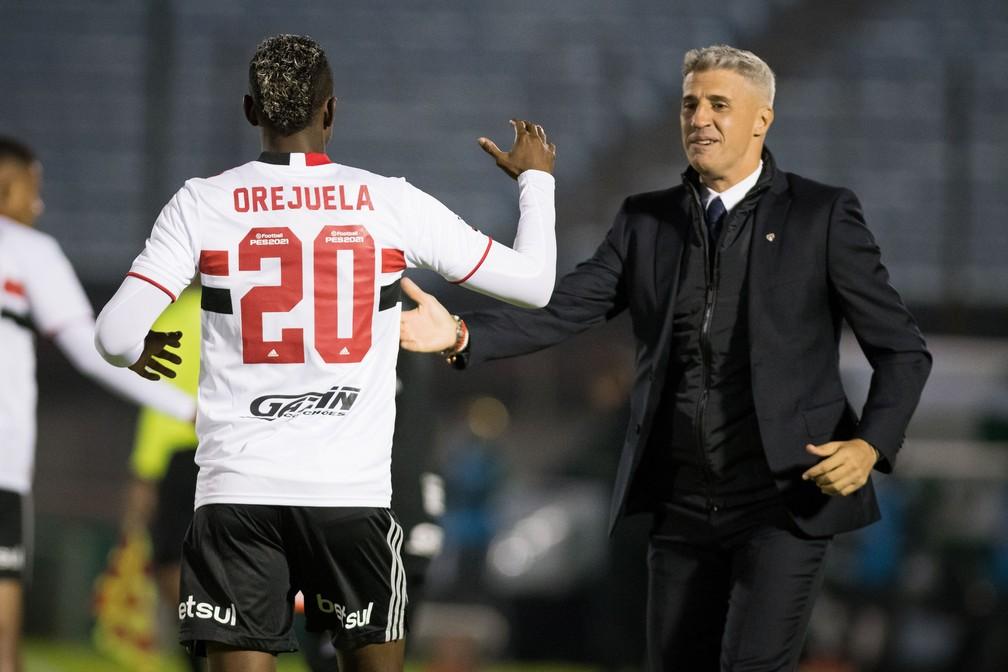 Orejuela estreou e anotou o primeiro gol pelo São Paulo contra o Rentistas — Foto: Staff images /CONMEBOL