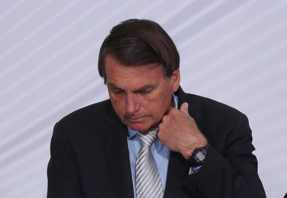 Foto de arquivo de 9 de dezembro de 2020 do presidente Jair Bolsonaro (sem partido) em evento no Palácio do Planalto, em Brasília. — Foto: GABRIELA BILó/ESTADÃO CONTEÚDO