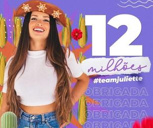 Juliette Freire atingiu a marca de 12 milhões de seguidores   Reprodução
