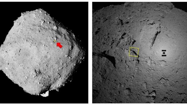 A localização da sonda no asteroide (Foto: Twitter/Jaxa)
