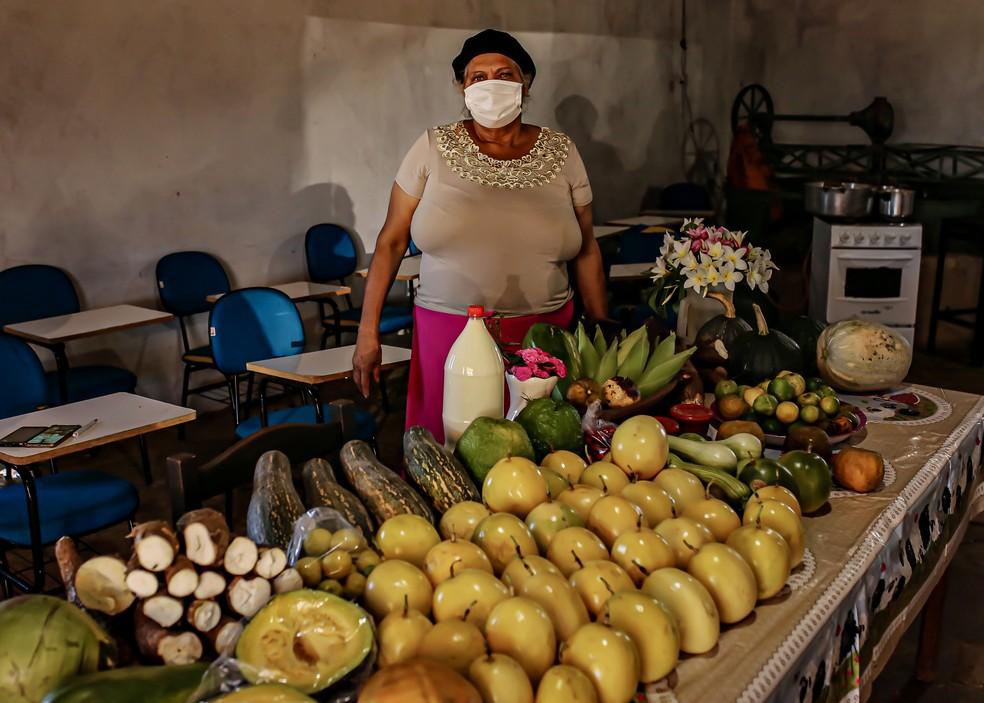 Cleuzini Moraes de Souza Rodrigues, 55 anos, sobrevive da agricultura família. A produtora está desde 2003 nas terras do assentamento, antes mesmo da homologação do São Gabriel — Foto: Divulgação