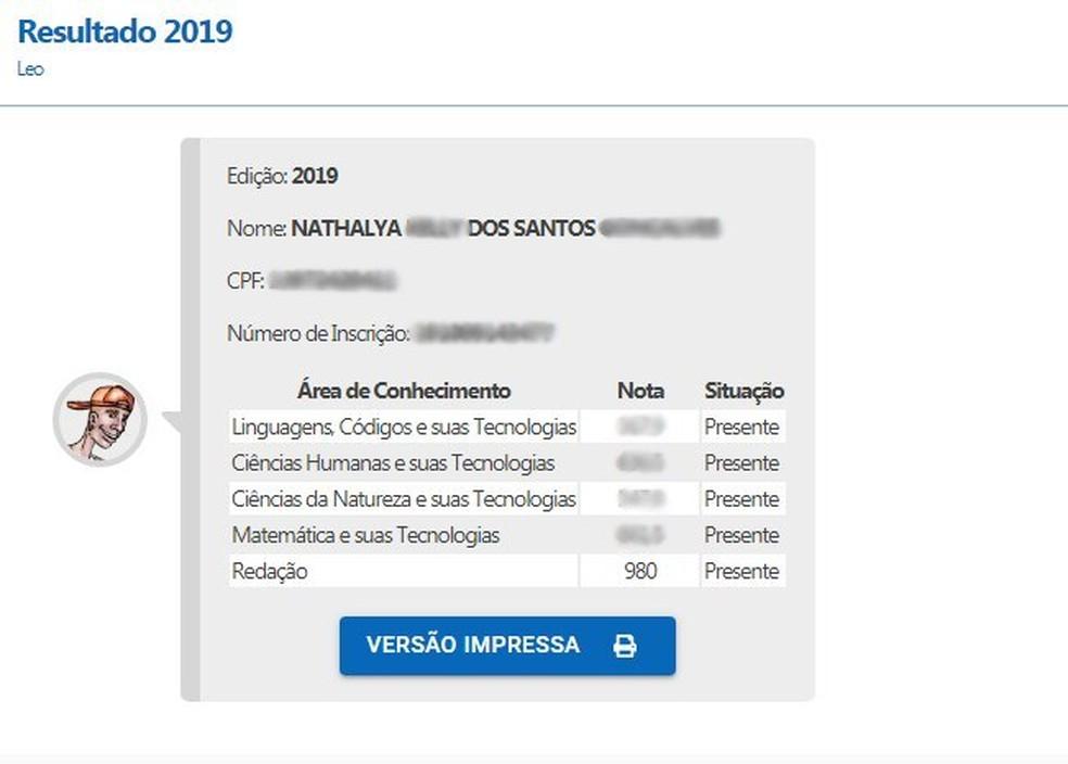Aluna de escola pública da Paraíba faz 980 pontos na redação do Enem 2019 — Foto: Reprodução/Inep
