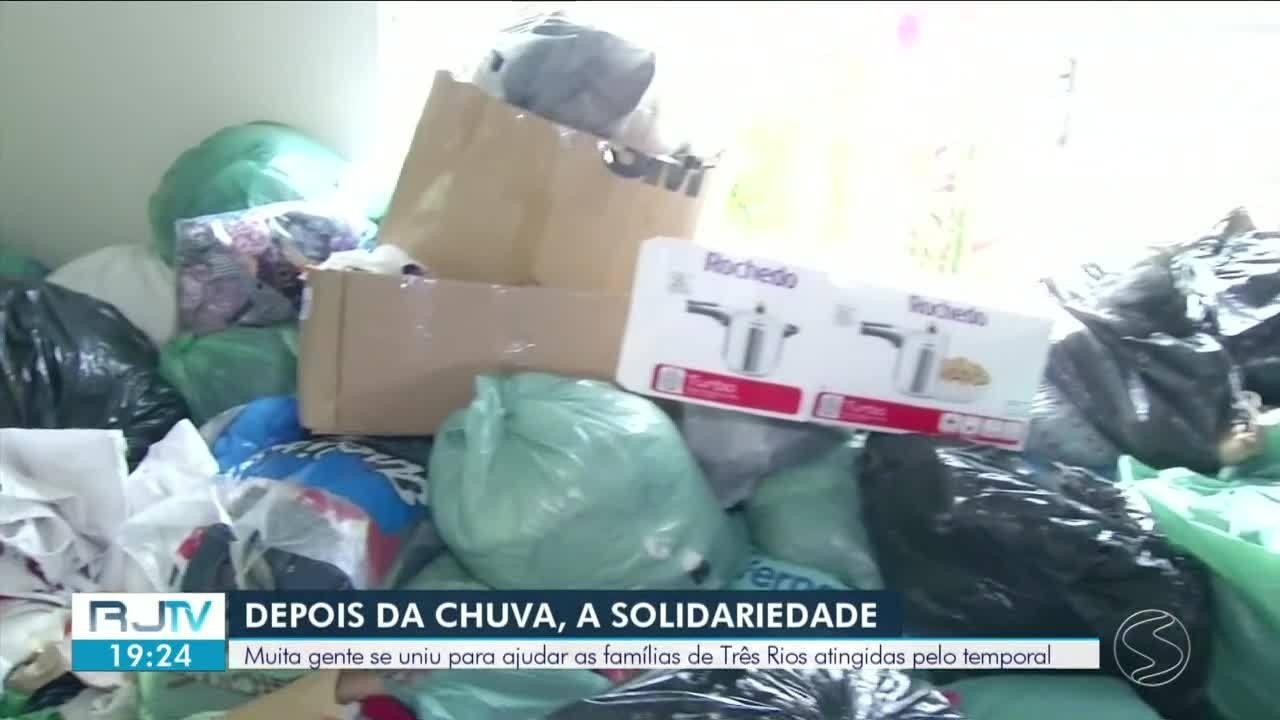 Ação de solidariedade une população de Três Rios para ajudar vítimas da chuva