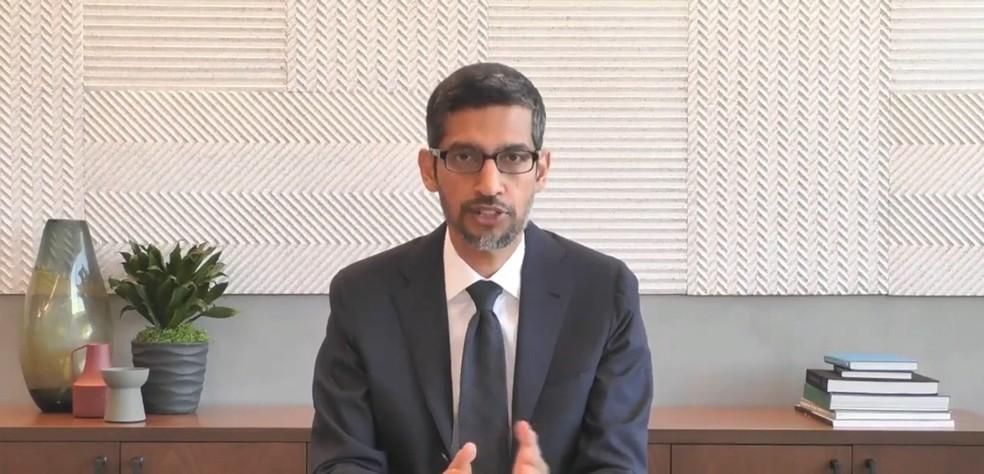 Sundar Pichai, presidente-executivo do Google, em audiência nos EUA — Foto: Reprodução