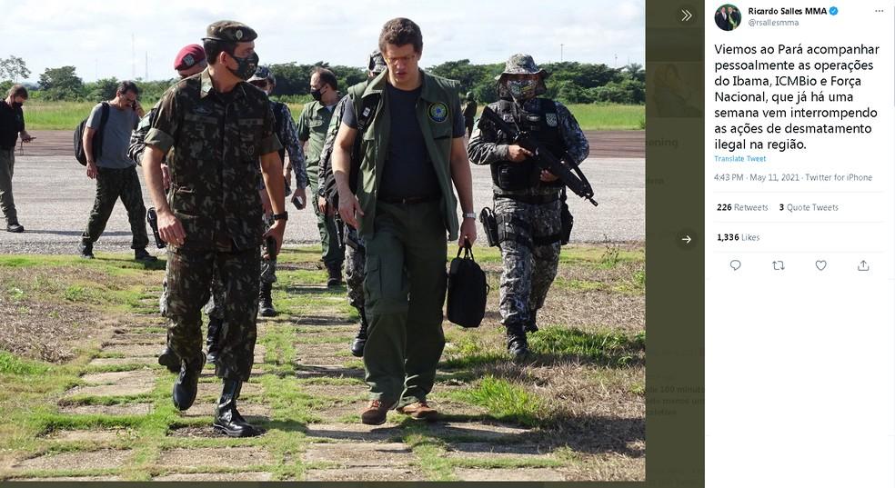Ministro Ricardo Salles transfere gabinete ao Pará para acompanhar operações da Força Nacional — Foto: Reprodução/Twitter
