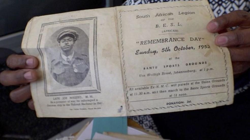 Job Maseko foi lembrado em uma homenagem alguns meses após sua morte — Foto: BBC