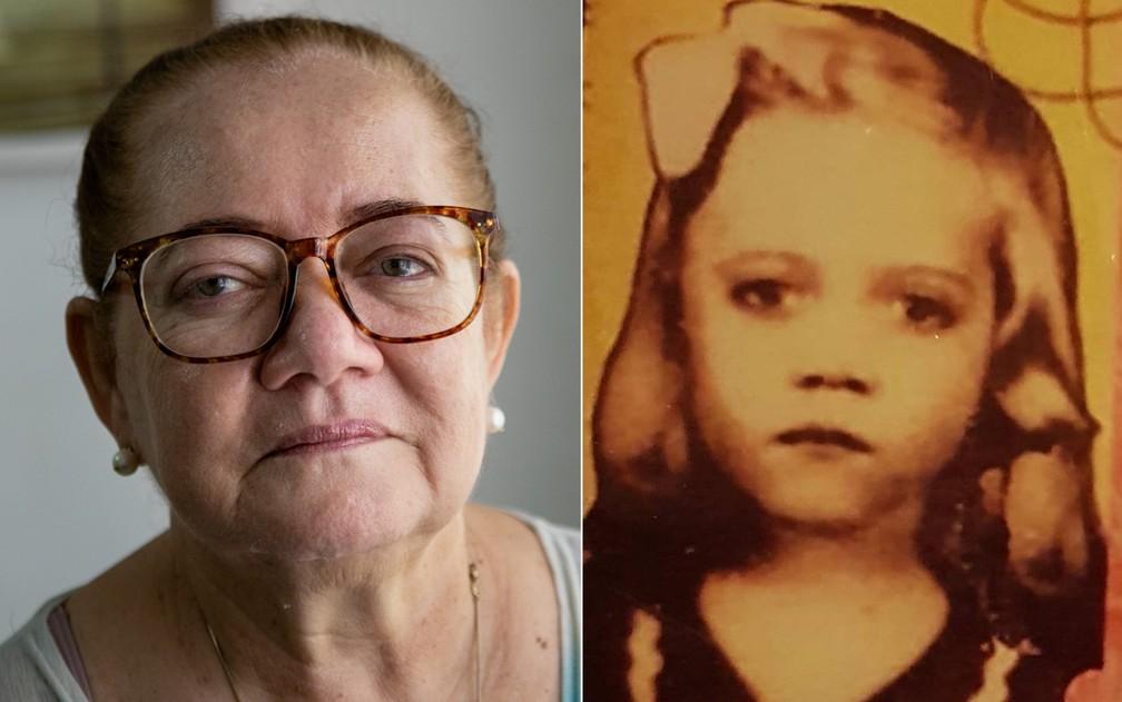Montagem com uma foto atual de Iracema de Carvalho Araújo ao lado outra de quando era criança  — Foto: Marcelo Brandt/Arquivo pessoal