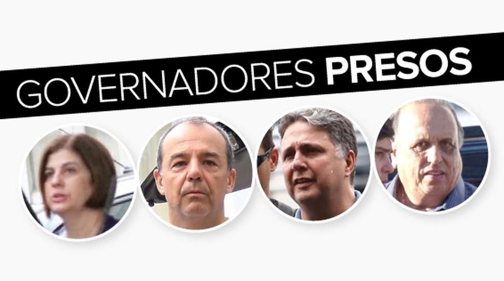 selo governadores presos no RJ — Foto: Arte G1