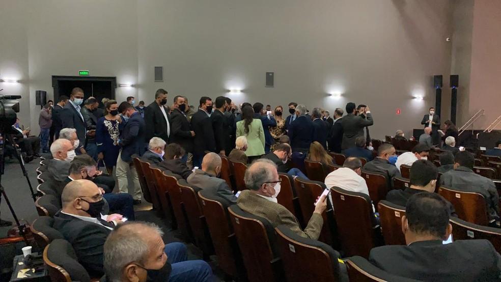 Auditório do Palácio dos Bandeirantes lotado de convidados nesta quinta-feira (12), durante anúncio para produtores rurais por parte de João Doria (PSDB). — Foto: Daniela Geminiani/GloboNews