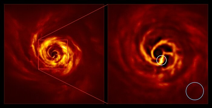The images of the AB Aurigae system showing the disc around it. The image on the right is a zoomed-in version of the area indicated by a red square on the image on the left. It shows the inner region of the disc, including the very-bright-yellow 'twist' ( (Foto: ESO/Boccaletti et al.)