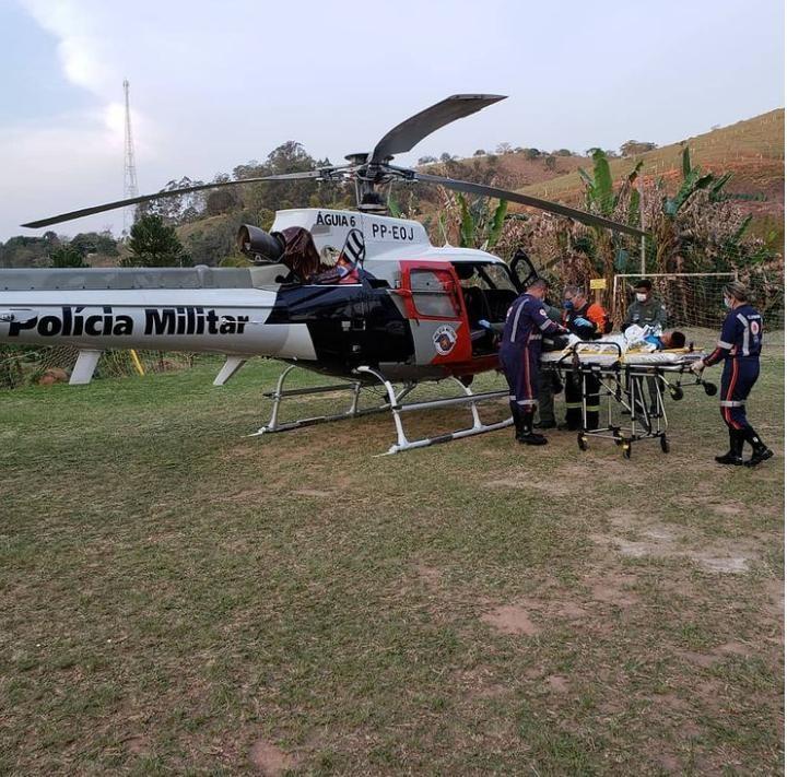 Criança é socorrida de helicóptero após se ferir em lança de portão em Redenção da Serra