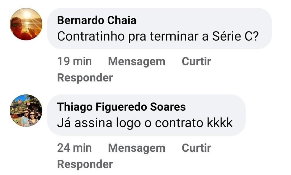 Torcida do Volta Redonda pede a contratação de Dedé — Foto: Divulgação/Redes Sociais