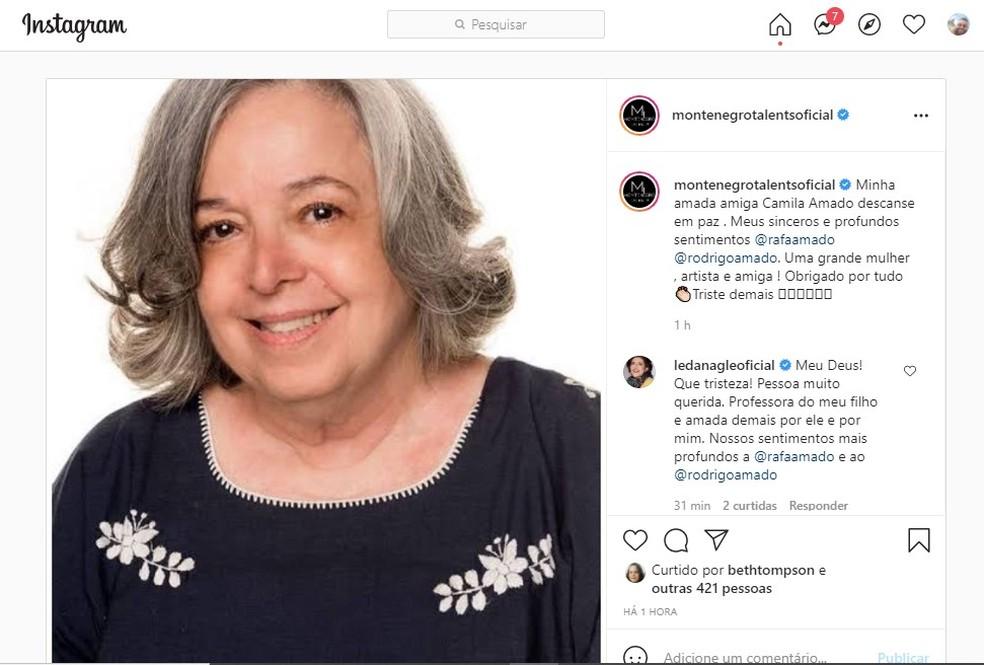 Morte da atriz Camilla Amado foi anunciada pela agência Montenegro Talents, que assessorava sua carreira — Foto: Reprodução/Instagram