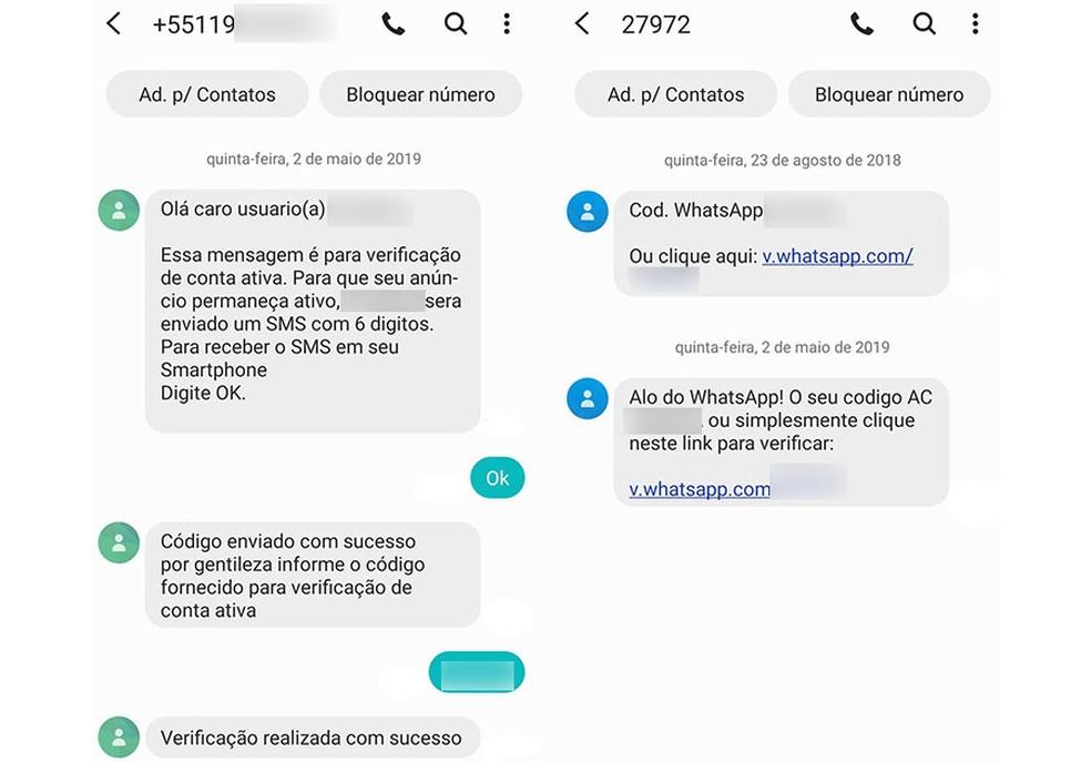 Vítima tinha anúncio on-line em site que deixava telefone exposto para negociação. Golpistas enviaram um SMS falso alegando se tratar de uma confirmação no cadastro do site onde o telefone aparecia — Foto: Reprodução