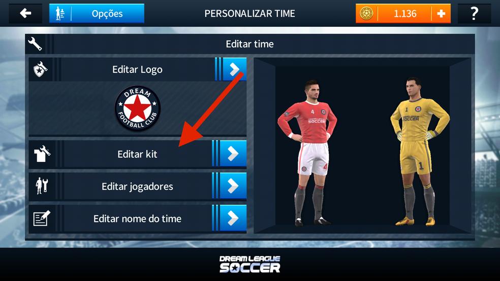 Clique em editar kit para importar novos uniformes a Dream League Soccer  2018 (Foto  e849afb0ca408