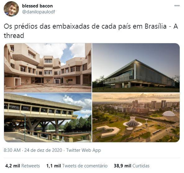O jovem Danilo Paulo de Oliveira fez uma publicação que viralizou no Twitter sobre as embaixadas de Brasília  (Foto: Reprodução)