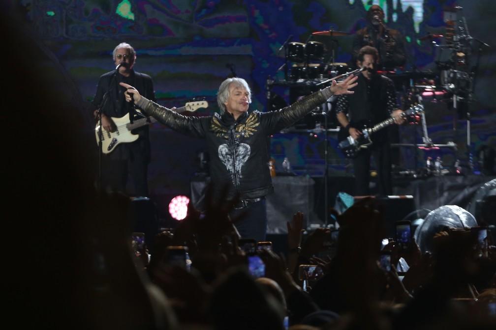 Bon Jovi Poupa Voz Em Show Animado Em Sao Paulo E Fa Tenta Roubar Selinho Rock In Rio 2019 G1