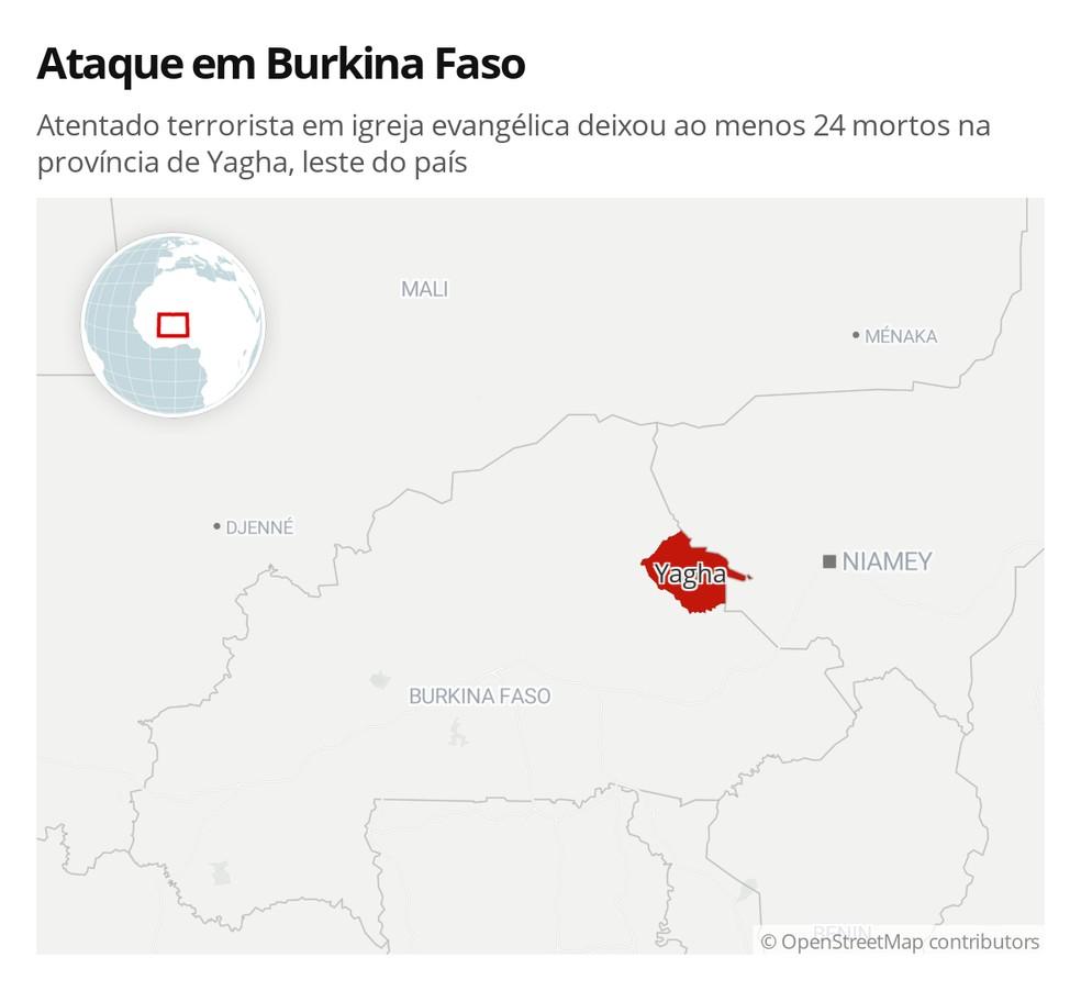 Atentado terrorista em igreja evangélica deixou ao menos 24 mortos na província de Yagha, leste do país — Foto: G1 Mundo