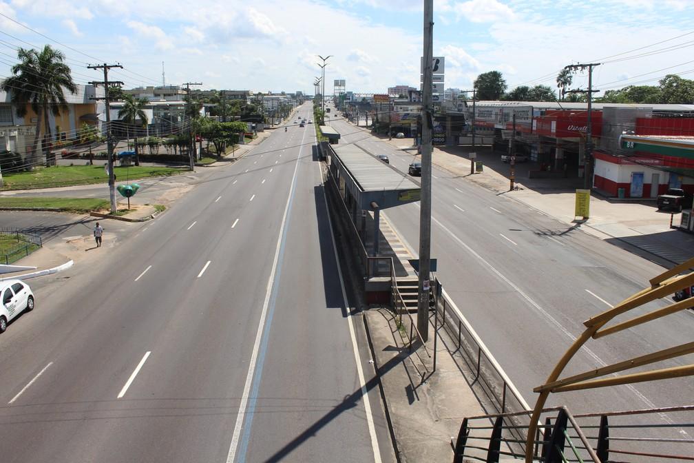 Avenida Torquato Tapajós, durante jogo entre Brasil x México (Foto: Patrick Marques/G1 AM)