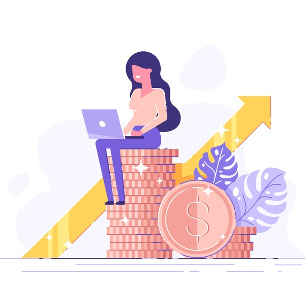 Financial consultant leaning on a stack of coins smiles friendly and waves with hand. Successful investor or entrepreneur. Financial consulting, investment and savings. Modern vector illustration. (Foto: Getty Images/iStockphoto)
