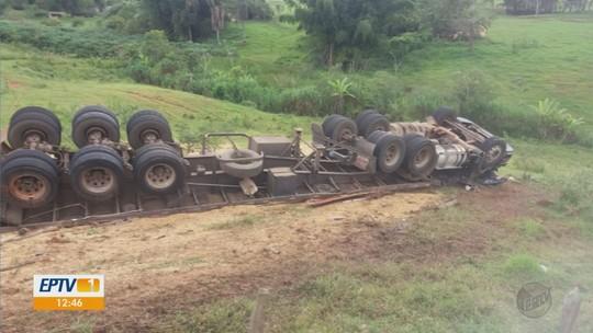 Motorista de caminhão fica ferido em acidente da BR-265