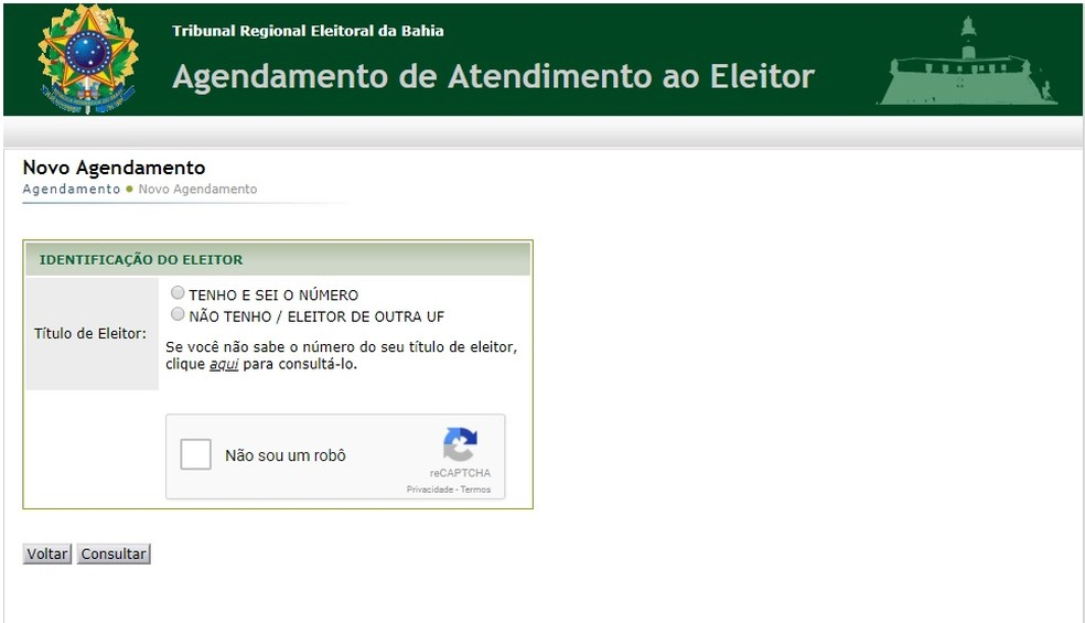 Agendamento do recadastramento biométrico para eleitores que tiveram o título cancelado foi reaberto nesta sexta (Foto: Reprodução/ Site do TRE-BA)