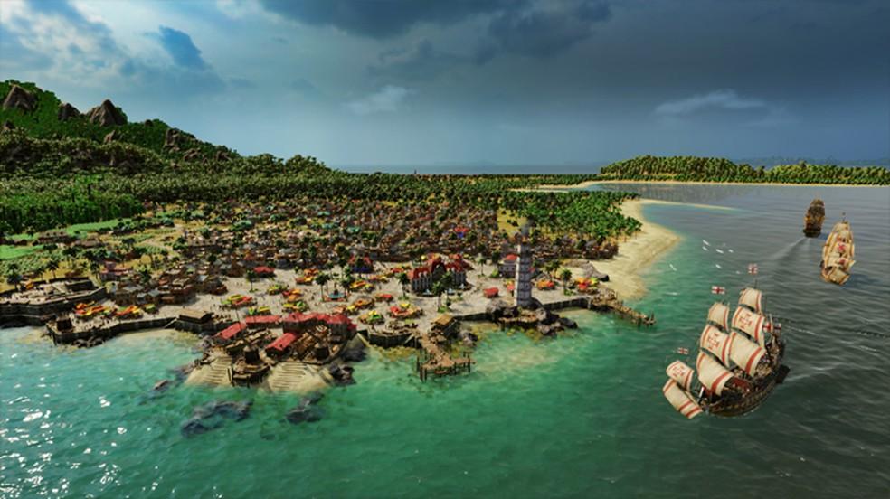 Port Royale 4 permite que jogadores criem sua própria cidade e explorem o mar em busca de rotas comerciais — Foto: Reprodução/Steam