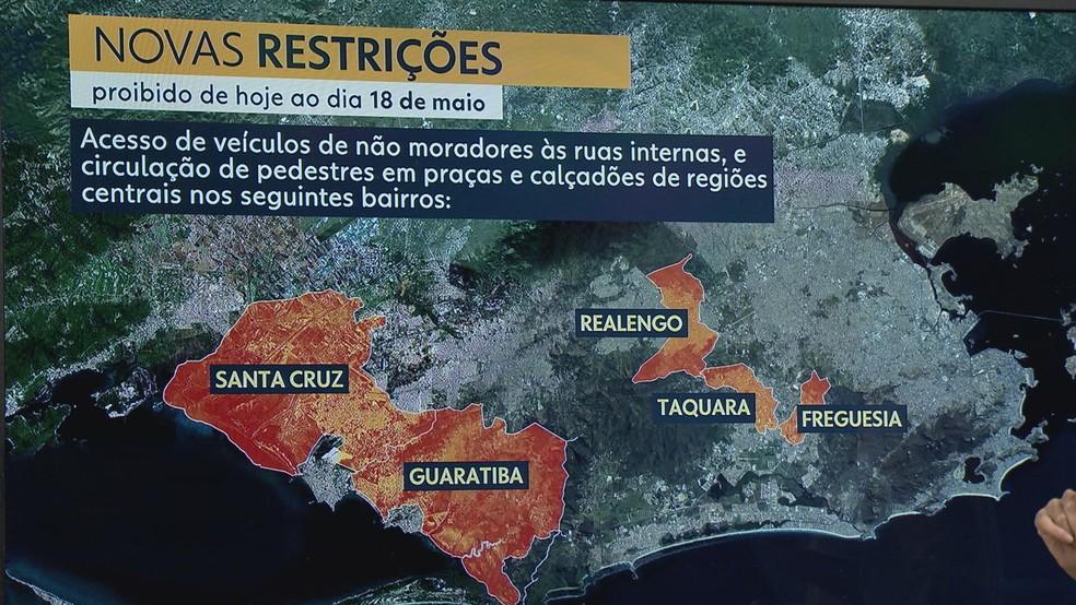 Restrições na Zona Oeste — Foto: Reprodução/TV Globo
