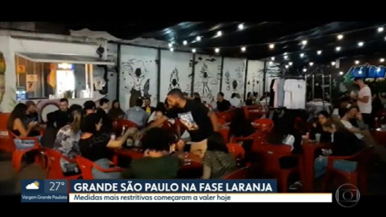 Começa a valer na grande São Paulo regras mais restritivas da fase laranja