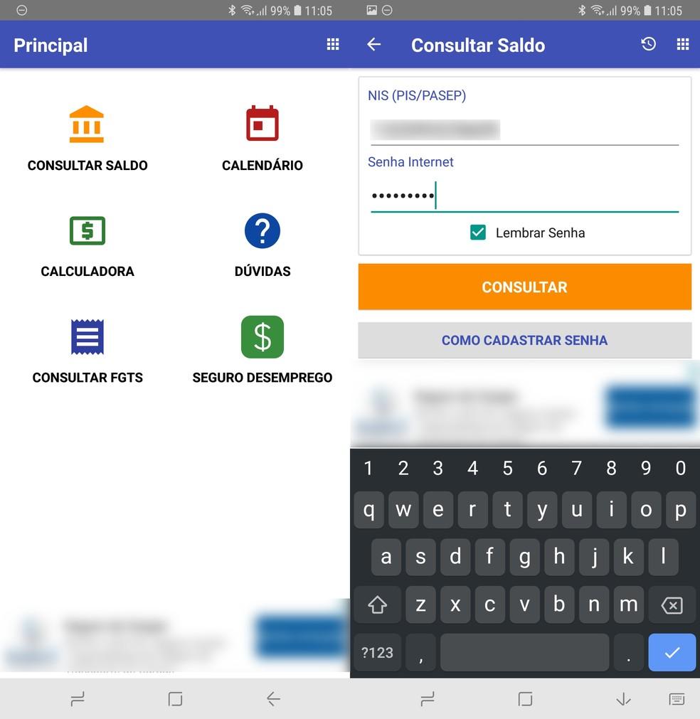 Aplicativo para Android e iPhone permite consultar saldo do PIS (Foto: Reprodução / TechTudo)
