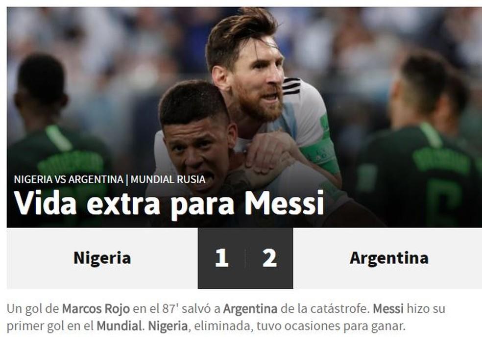 AS Argentina x Nigéria (Foto: Reprodução)
