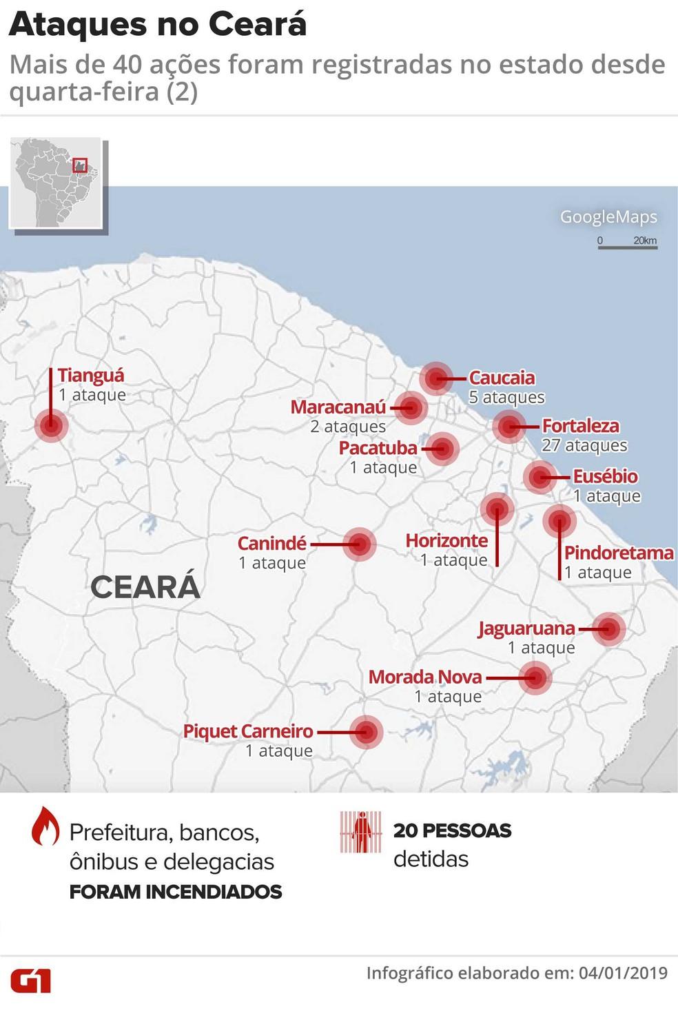 Ceará tem onda de ataques violentos na Região Metropolitana de Fortaleza e cidades do interior — Foto: Infográfico: Juliane Monteiro/G1