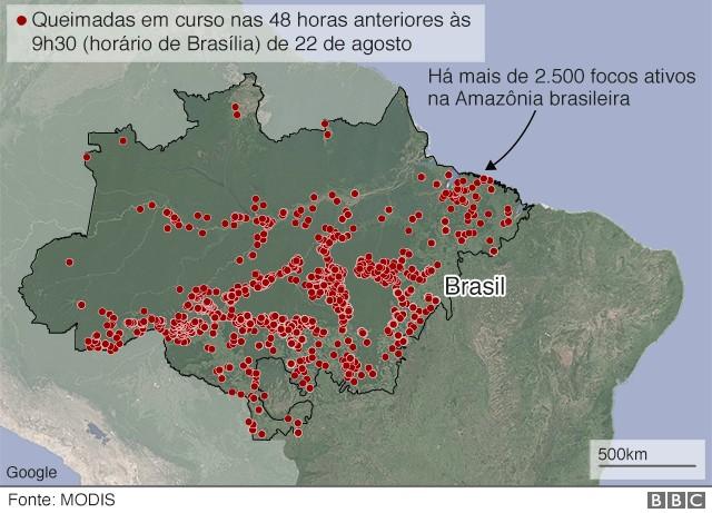 Amazônia (Foto: Modis via BBC News)