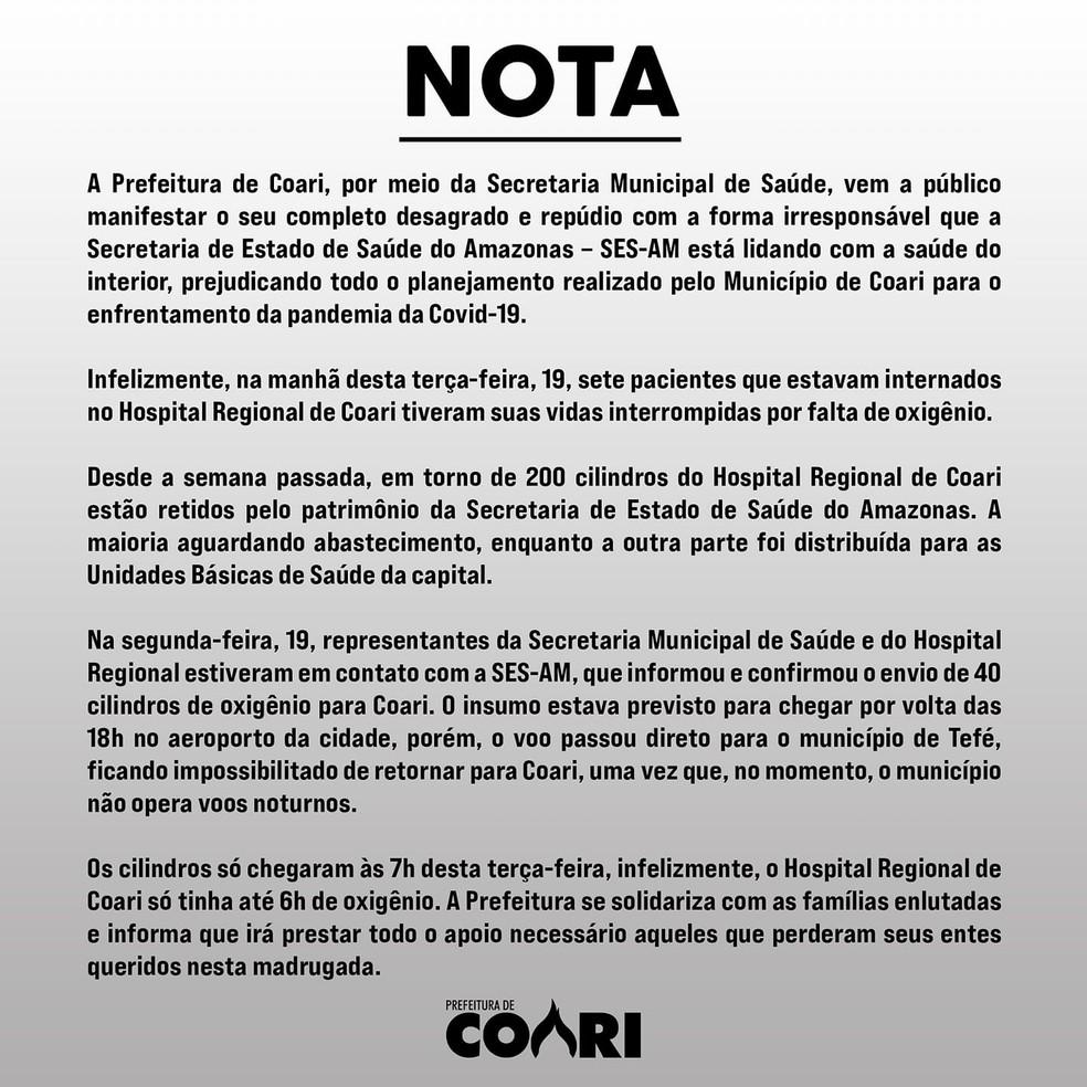 Nota divulgada pela prefeitura de Coari — Foto: Reprodução
