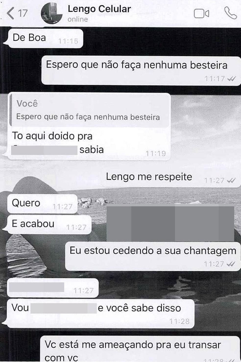 Imgens mostram conversa entre dono de loja e cliente chantageada na Bahia — Foto: Arquivo Pessoal