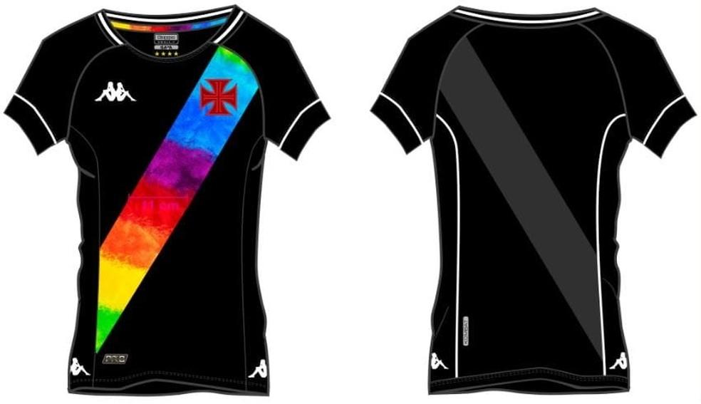 Confira como será a nova camisa do Vasco em homenagem à causa LGBTQIA+ — Foto: Reprodução